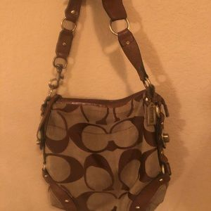 Brown and Tan Coach Shoulder Bag